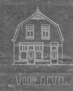 """Voorgevel en plattegrond woning Wed D. Langenhof """"Pas Dina"""", gebouwd in 1928"""